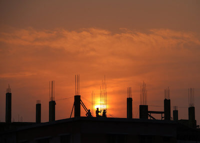 sunset on building site