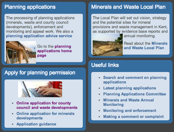 Screenshot of Kent planning applications site